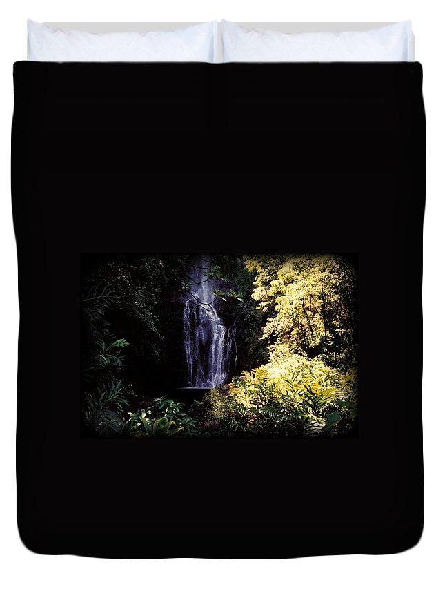 Dusk Duvet Cover featuring the photograph Maui Waterfall by J D Owen
