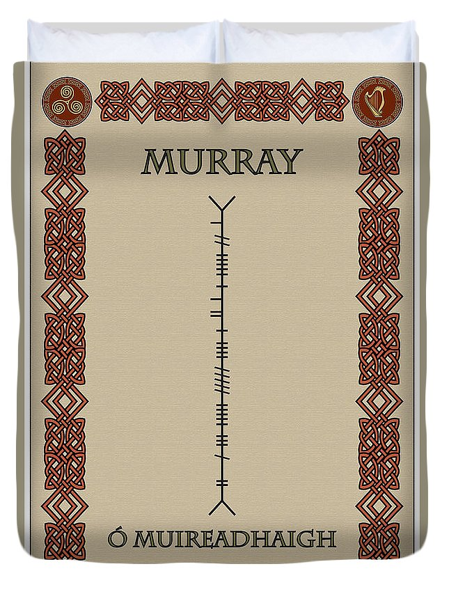 Murray Duvet Cover featuring the digital art Murray Written In Ogham by Ireland Calling