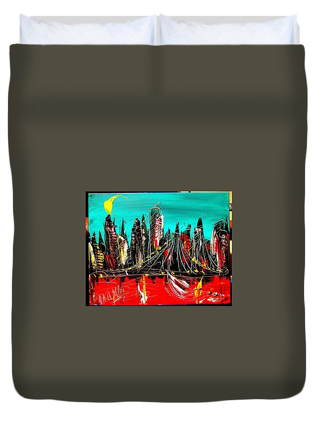 New York City Duvet Cover featuring the painting NY by Mark Kazav