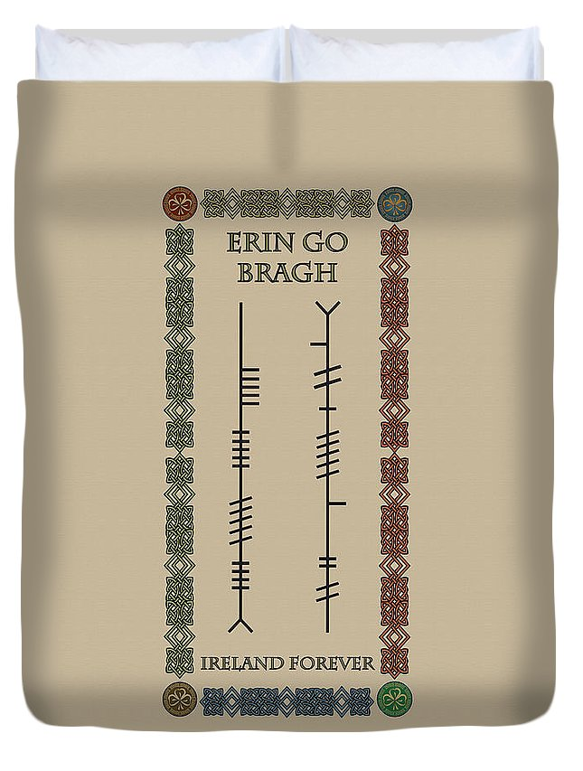 Erin Go Bragh Duvet Cover featuring the digital art Ogham Ireland Forever by Ireland Calling