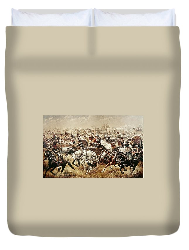 1889 Duvet Cover featuring the painting Oklahoma Land Rush, 1889 4 by Granger