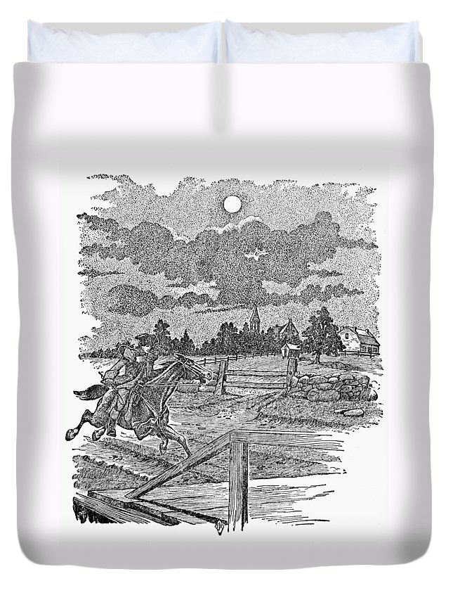 1775 Duvet Cover featuring the photograph Paul Reveres Ride by Granger