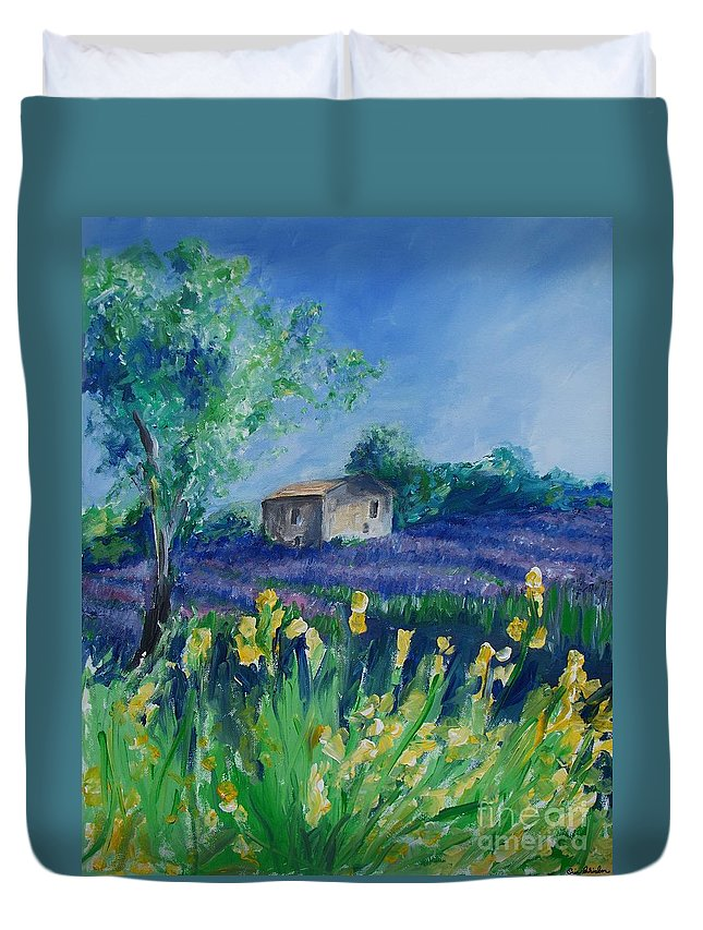 Provence Duvet Cover featuring the painting Provence Lavender Field by Eric Schiabor