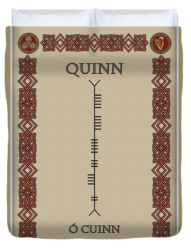 Quinn Duvet Cover featuring the digital art Quinn Written In Ogham by Ireland Calling