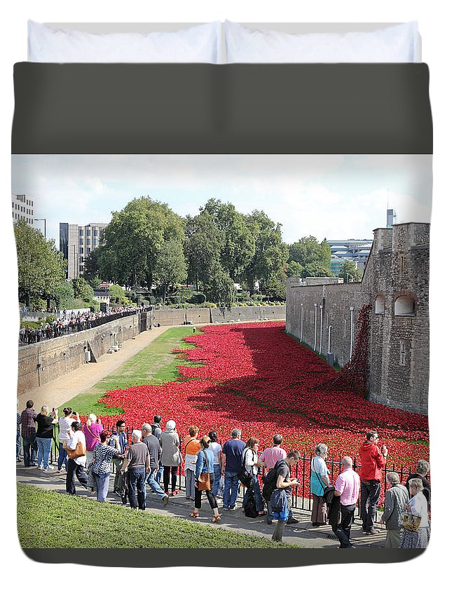 Remembrance Poppies At Tower Of London Duvet Cover featuring the photograph Remembrance Poppies At Tower Of London by Julia Gavin