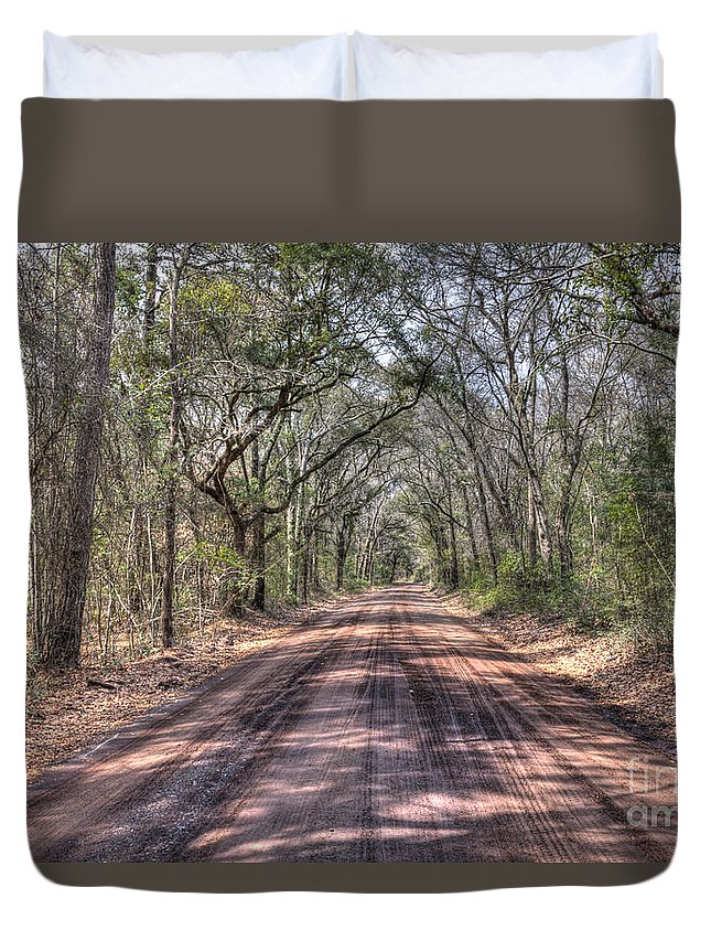 Angel Oak Tree Duvet Cover featuring the photograph Road To Angel Oak by Dale Powell