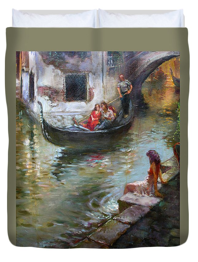 Romance Duvet Cover featuring the painting Romance In Venice by Ylli Haruni