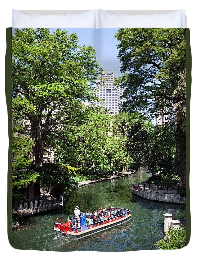 San Antonio Duvet Cover featuring the photograph San Antonio Riverwalk by Bill Cobb