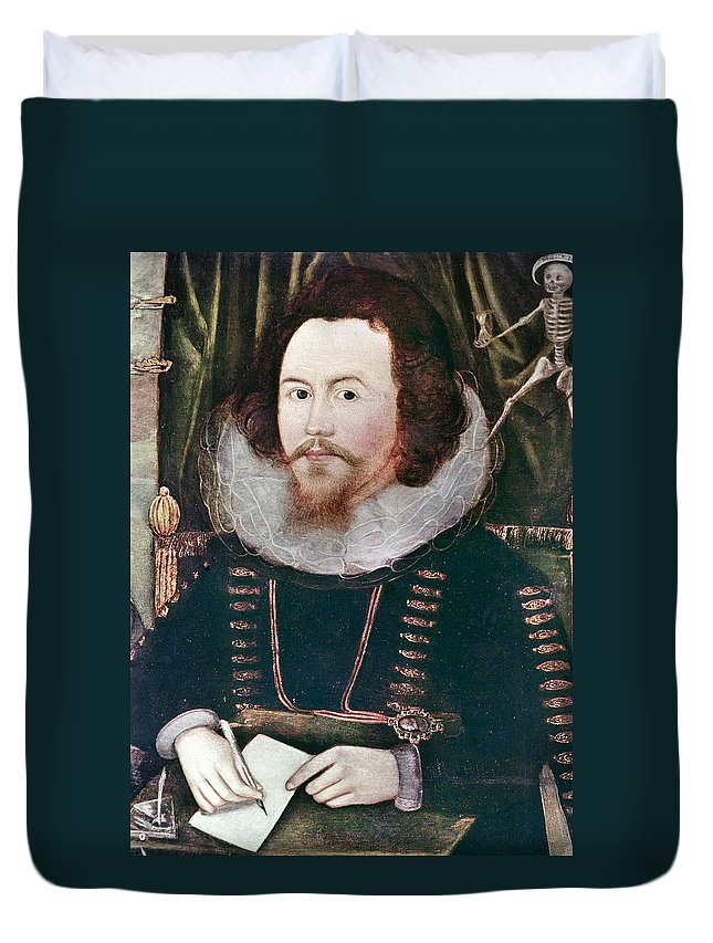 1596 Duvet Cover featuring the painting Sir Henry Unton (c1557-1596) by Granger