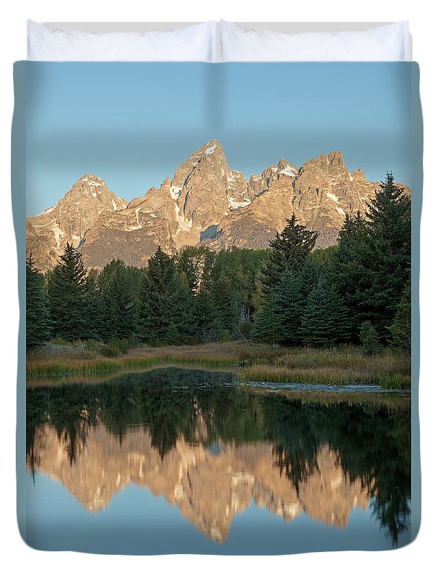 Autumn Duvet Cover featuring the photograph The Grand Tetons Schwabacher Landing Grand Teton National Park by Fred Stearns