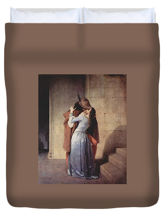 Francesco Hayez Duvet Cover featuring the painting The Kiss by Mountain Dreams