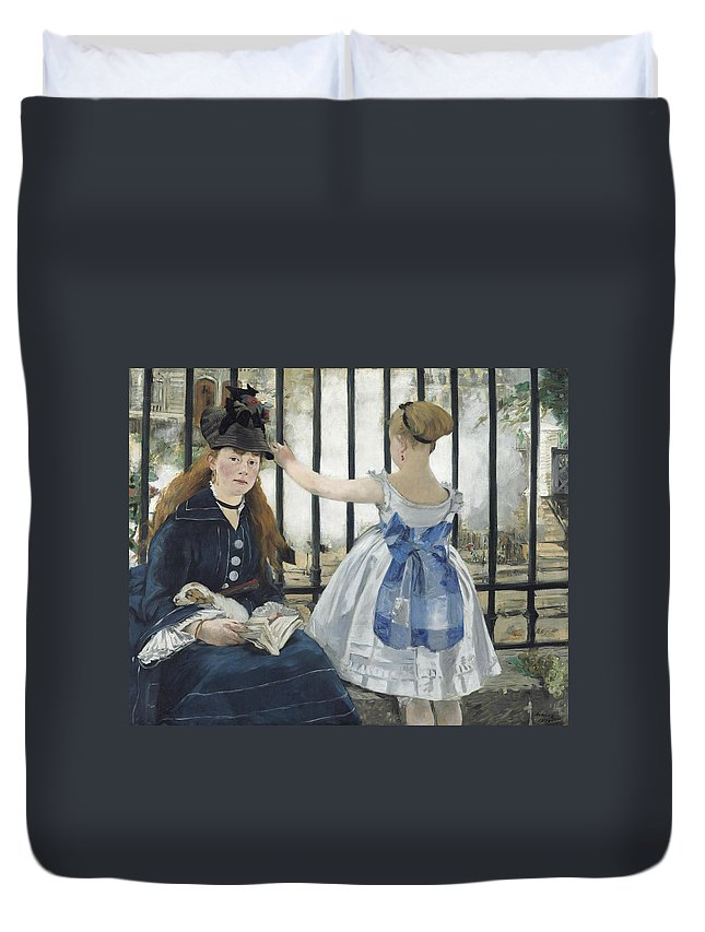 Edouard Manet Duvet Cover featuring the painting The Railway by Edouard Manet