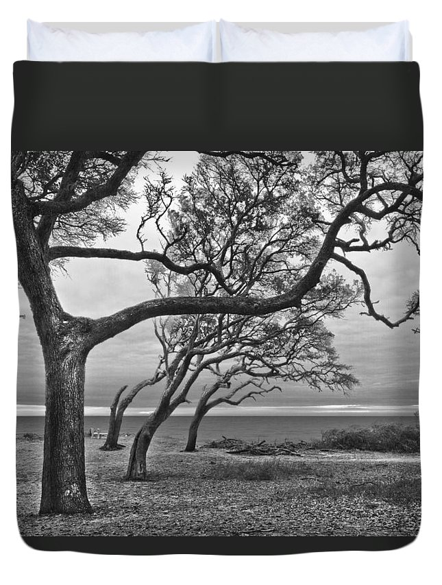 Clouds Duvet Cover featuring the photograph The Reach by Debra and Dave Vanderlaan
