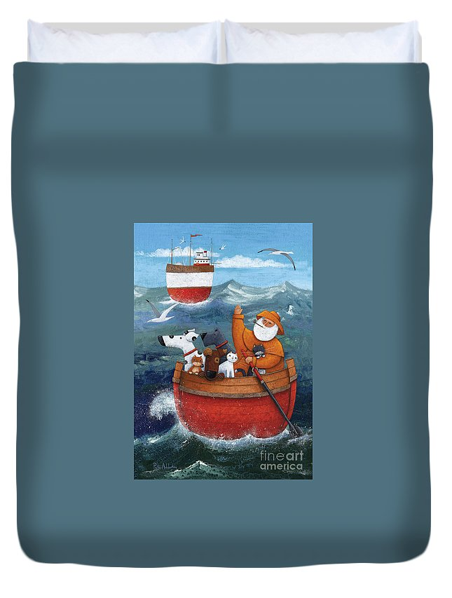 Adult Duvet Cover featuring the photograph Animal Boat Adventure by MGL Meiklejohn Graphics Licensing