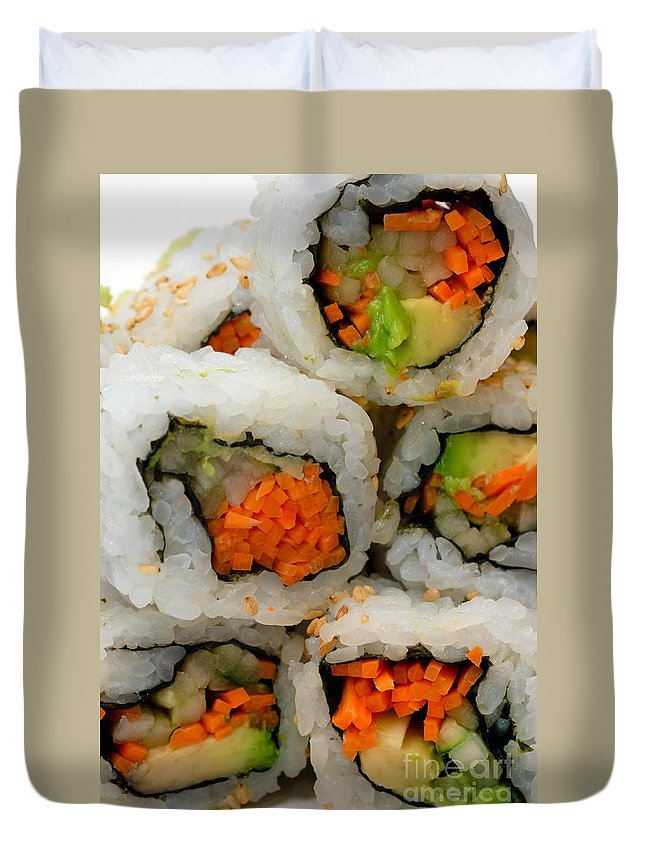 Appetizer Duvet Cover featuring the photograph Vegetable Sushi by Amy Cicconi