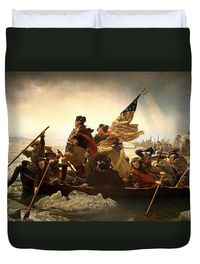 George Washington Duvet Cover featuring the photograph Washington Crossing The Delaware by Emanuel Leutze