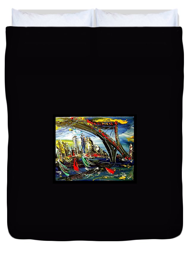 Duvet Cover featuring the painting New York by Mark Kazav