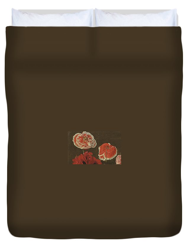 Pancrace Bessa - Red Duvet Cover featuring the painting Pancrace Bessa by MotionAge Designs