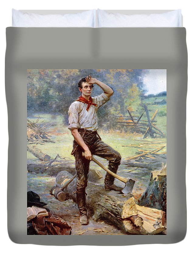 19th Century Duvet Cover featuring the painting Abraham Lincoln (1809-1865) by Granger