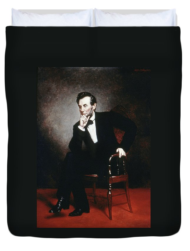 1860 Duvet Cover featuring the painting Abraham Lincoln (1809-1865) by Granger
