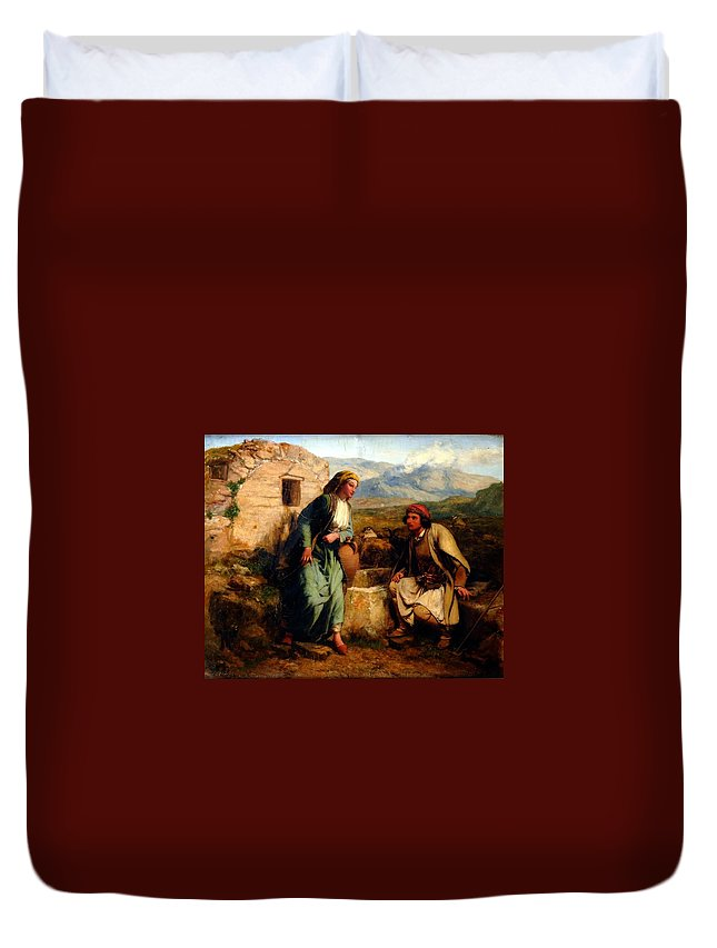 Paul Falconer Poole Duvet Cover featuring the painting Greek Shepherd And Maiden By A Well by MotionAge Designs