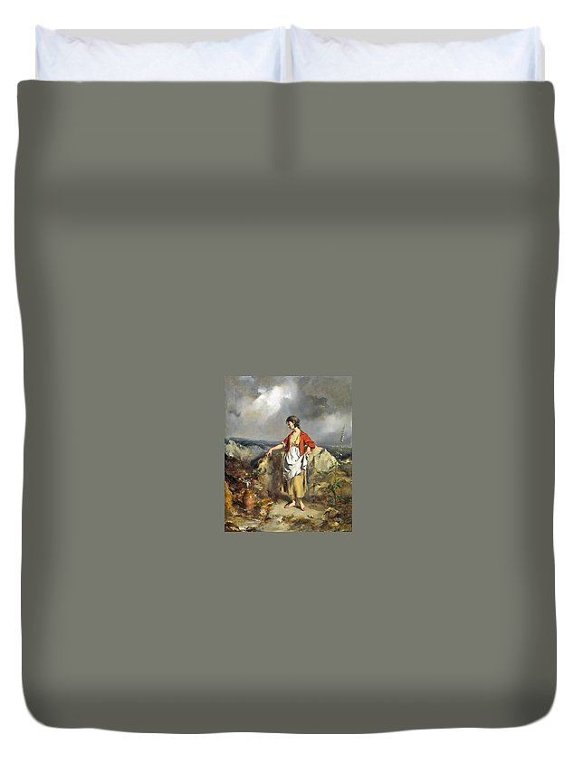 Girl With A Pitcher Duvet Cover featuring the painting Girl With A Pitcher by MotionAge Designs