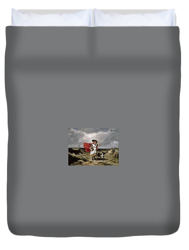 Paul Falconer Poole Duvet Cover featuring the painting Crossing The Heath Windy Day by MotionAge Designs