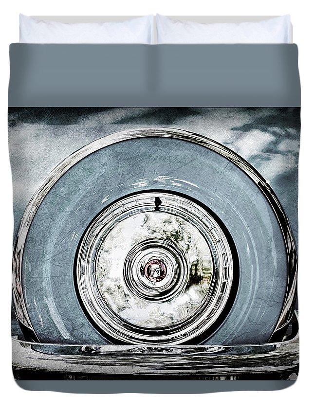 1956 Ford Thunderbird Spare Tire Duvet Cover featuring the photograph 1956 Ford Thunderbird Spare Tire by Jill Reger