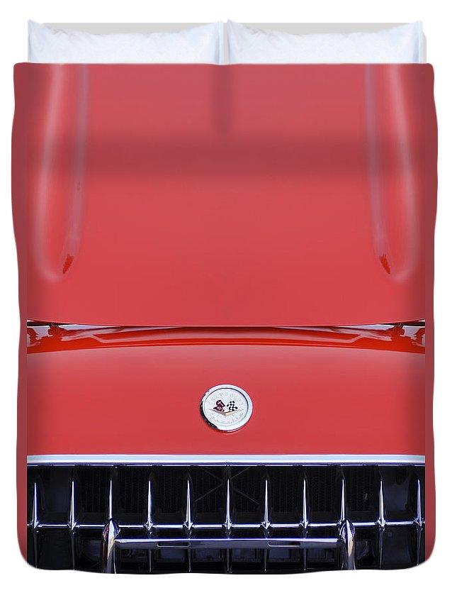 1957 Chevrolet Corvette Grille Duvet Cover featuring the photograph 1957 Chevrolet Corvette Grille by Jill Reger