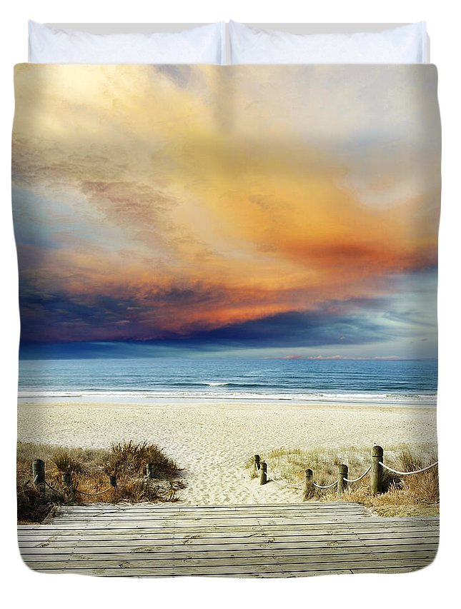 Beach Duvet Cover featuring the photograph Beach View by Les Cunliffe
