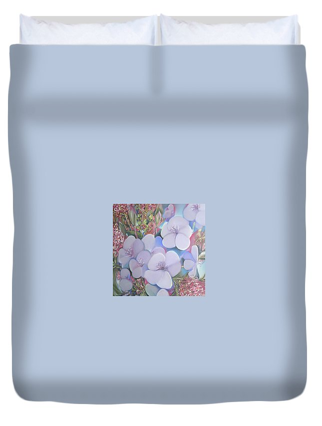 Natives Duvet Cover featuring the pastel Bottlebrush In Contrast by Cheryl Miller