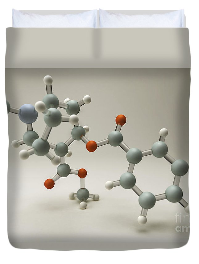 Grey Background Duvet Cover featuring the photograph Cocaine Molecule by Science Picture Co