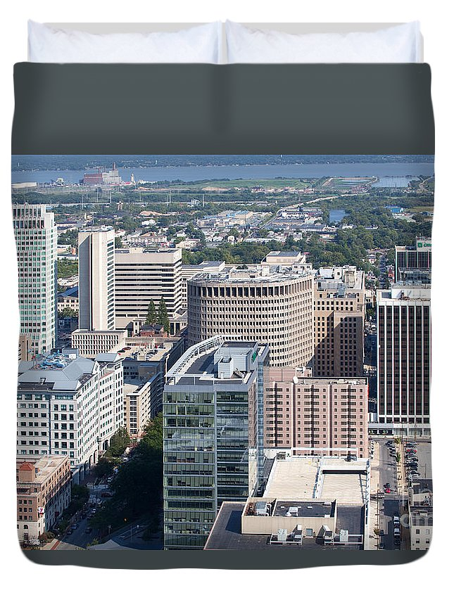 Aerial Duvet Cover featuring the photograph Downtown Skyline Of Wilmington by Bill Cobb