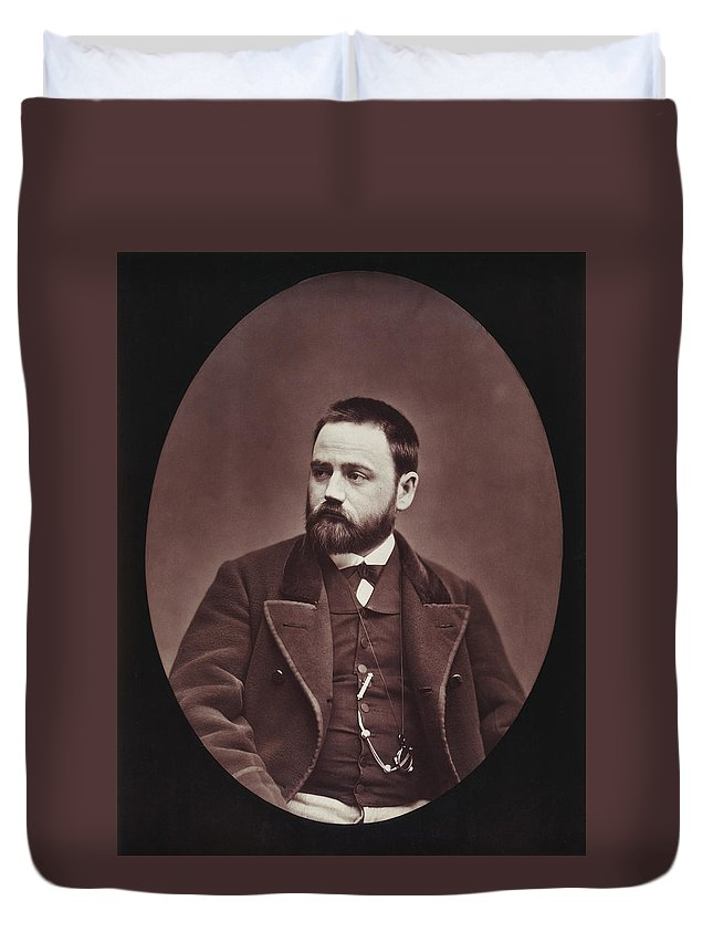 19th Century Duvet Cover featuring the photograph Emile Zola (1840-1902) by Granger