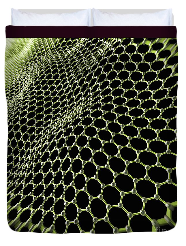 Honeycomb Lattice Duvet Cover featuring the photograph Graphene Structure by Science Picture Co