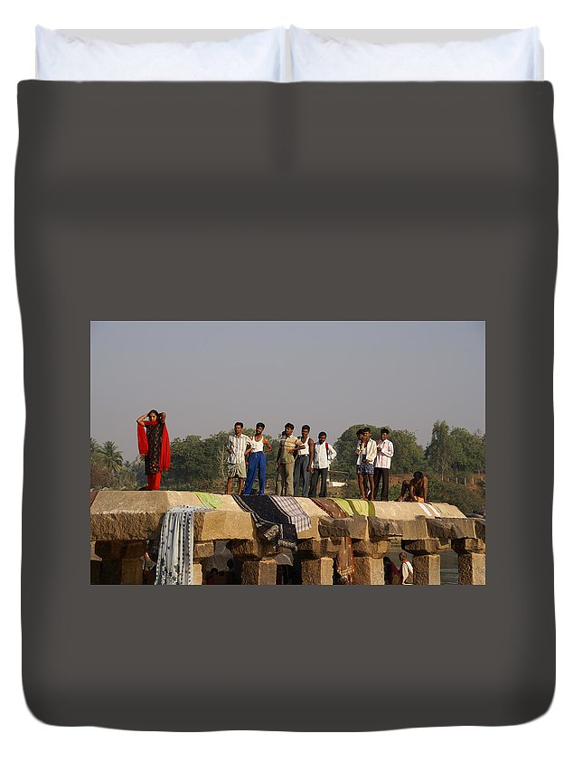 Bathing Ghats Duvet Cover featuring the digital art Hampi Ghats by Carol Ailles