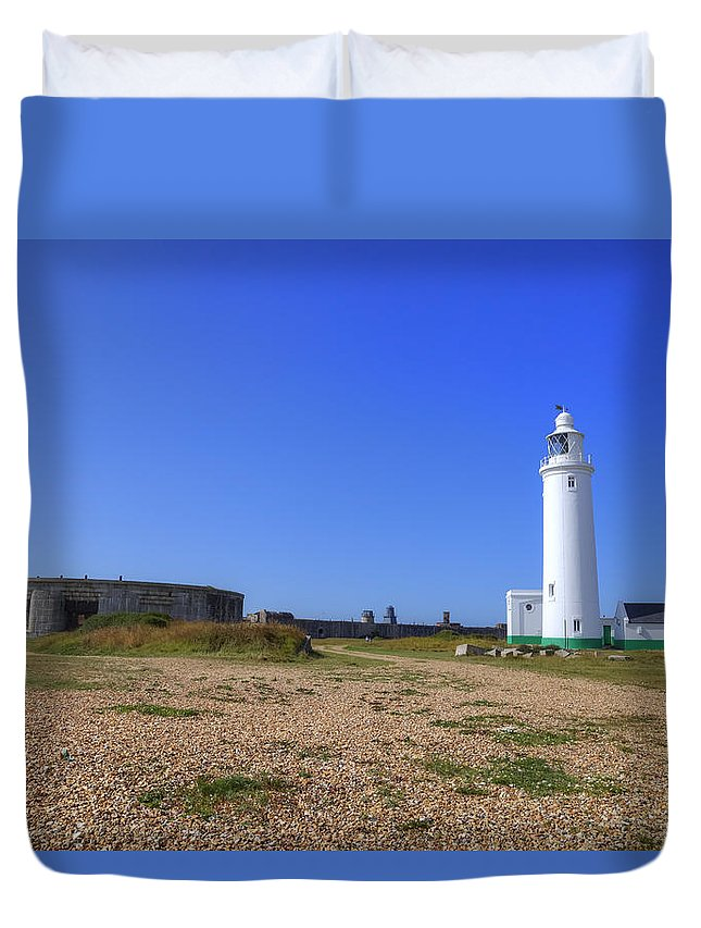 Lighthouse Duvet Cover featuring the photograph Hurst Point Lighthouse by Joana Kruse