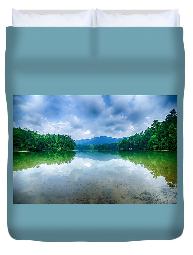 Colors Duvet Cover featuring the photograph Lake Santeetlah In Great Smoky Mountains North Carolina by Alex Grichenko