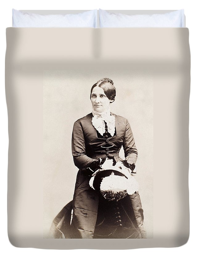 19th Century Duvet Cover featuring the photograph Lucy Hayes (1831-1889) by Granger