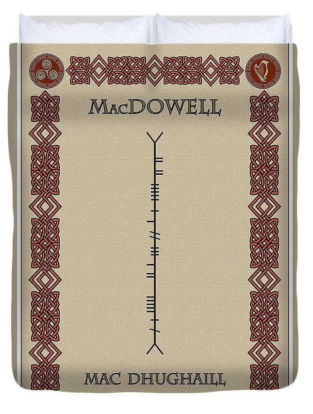 Macdowell Duvet Cover featuring the digital art Macdowell Written In Ogham by Ireland Calling