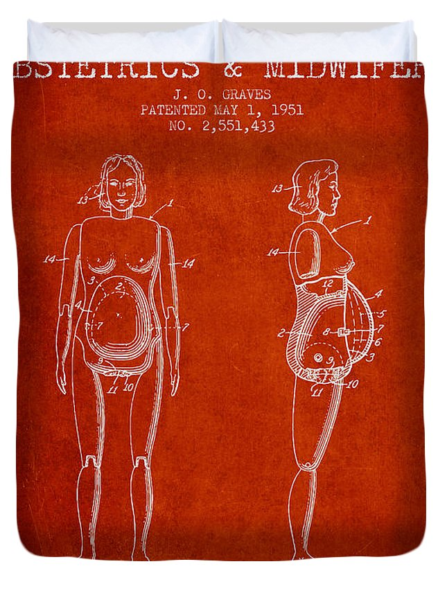 Midwife Duvet Cover featuring the drawing Manikin For Teaching Obstetrics And Midwifery Patent From 1951 - by Aged Pixel