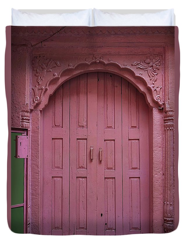 Description Duvet Cover featuring the photograph Old Doors India, Varanasi by Stereostok