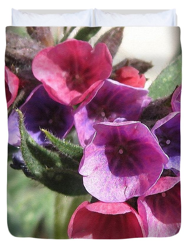 Pulmonaria Duvet Cover featuring the painting Pulmonaria Named Raspberry Splash by J McCombie