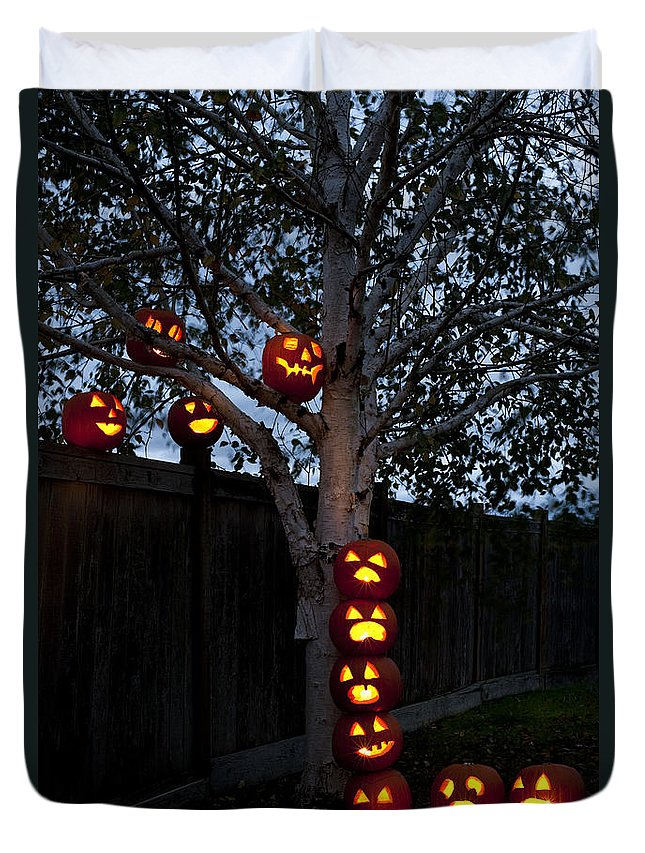 31st Duvet Cover featuring the photograph Pumpkin Escape Over Fence by Jim Corwin