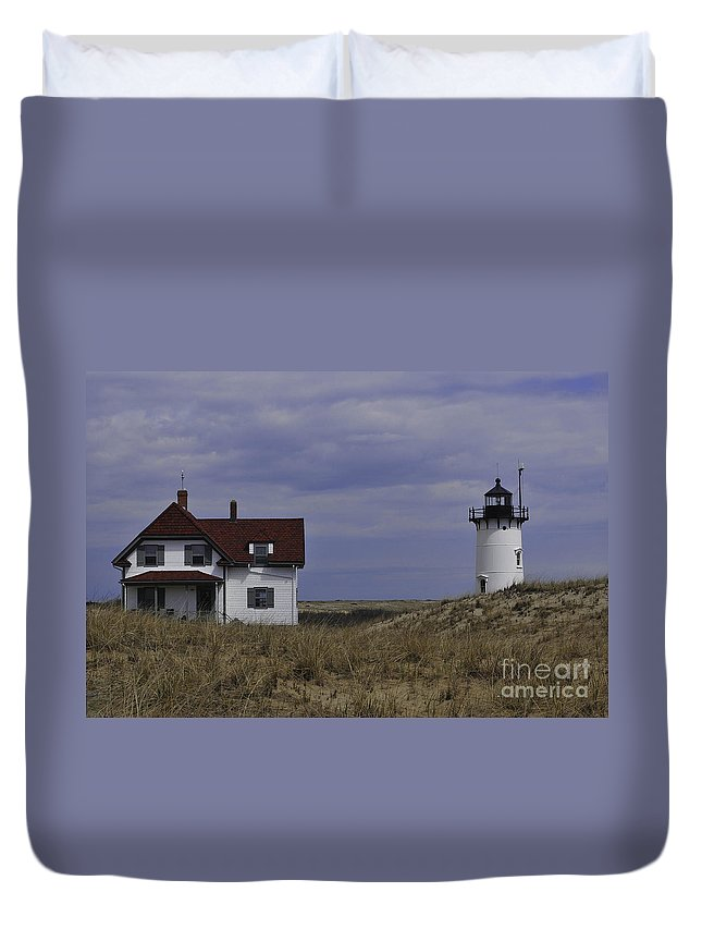 Race Point Light Duvet Cover featuring the photograph Race Point Light 16 by Catherine Reusch Daley