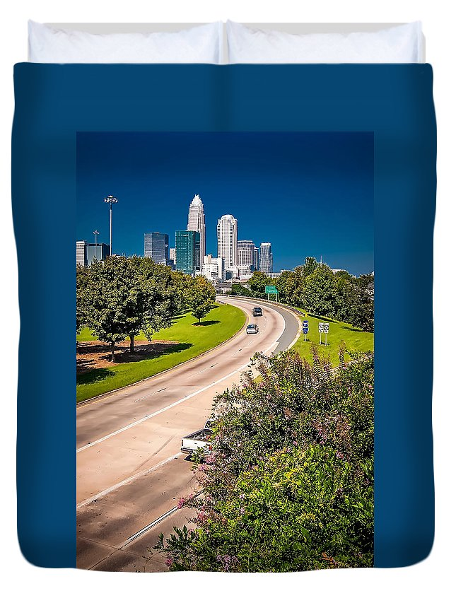 North Duvet Cover featuring the photograph Skyline Of Uptown Charlotte North Carolina by Alex Grichenko