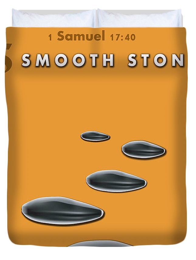 Christian Duvet Cover featuring the digital art 5 Smooth Stones by David Jackson