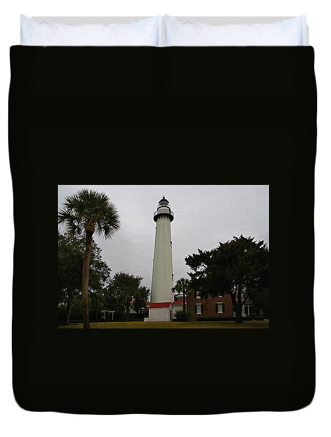 Lighthouse Duvet Cover featuring the photograph St Simons Island Lighthouse by Kathryn Meyer