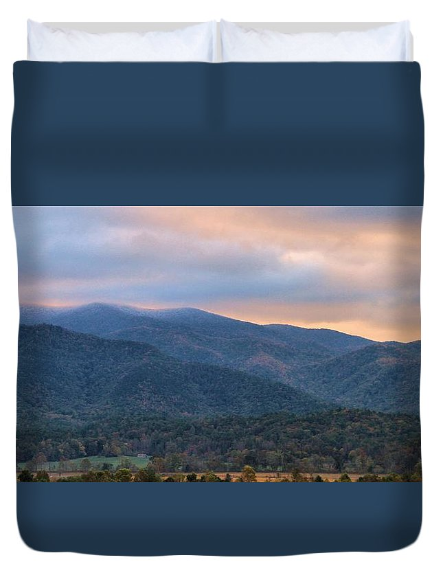Sunrise In Cades Cove Duvet Cover featuring the photograph Sunrise In Cades Cove by Dan Sproul