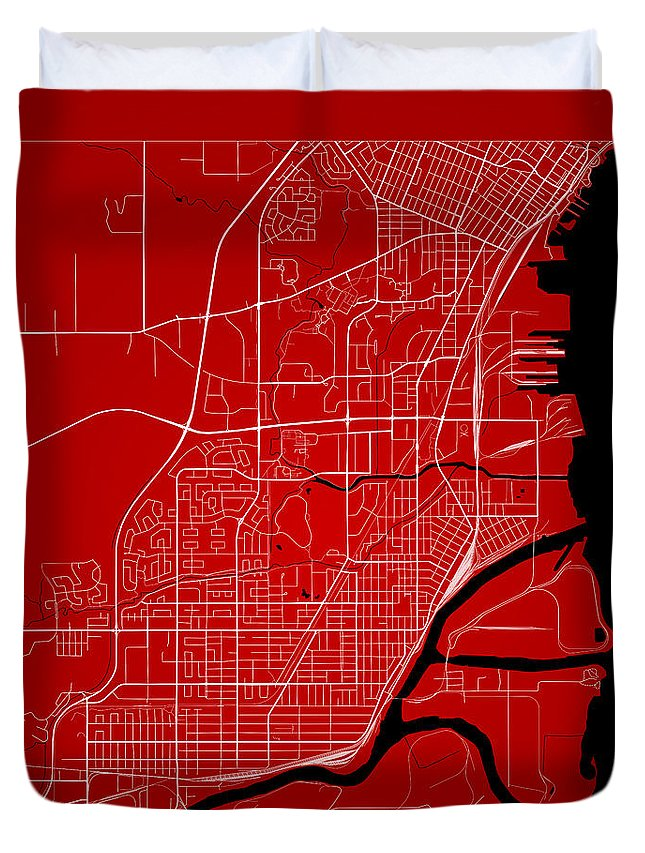 Road Map Duvet Cover featuring the digital art Thunder Bay Street Map - Thunder Bay Canada Road Map Art On Colo by Jurq Studio